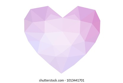 Light Purple, Pink vector heart isolated on white background. Geometric rumpled triangular low poly origami style gradient graphic illustration. Polygonal design for your business.