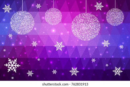 Light Purple Pink vector low poly crystal background with snowflakes. Polygon christmas design pattern . Low poly illustration of New Year celebration.