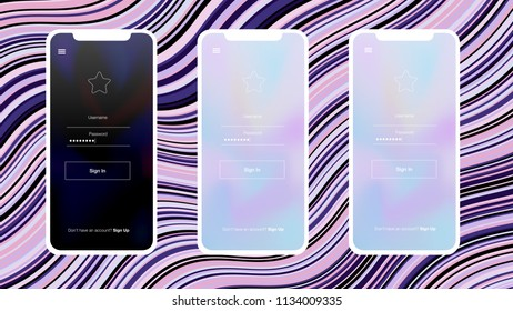 Light Purple, Pink vector Material Design Kit with iphone. Glitter illustration with shapes of iphone X with gradient This template you can use for landing pages.