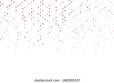 Light Purple, Pink vector pattern with EUR, JPY, GBP. Shining colored illustration with EUR, JPY, GBP signs. The pattern can be used for ad, booklets, leaflets of banks.