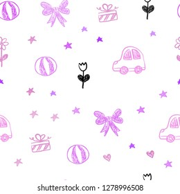 Light Purple, Pink vector seamless texture with birthday gifts. Shining illustration with a toy car, heart, baloon, tulip, candy, ball. Pattern for new year ads.