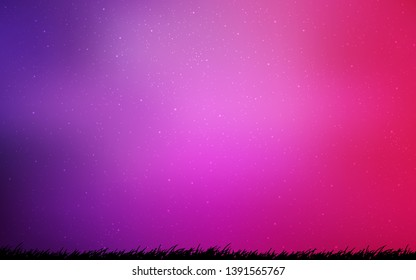 Light Purple, Pink vector texture with milky way stars. Space stars on blurred abstract background with gradient. Template for cosmic backgrounds.
