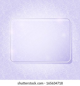 Light Purple Rectangle Piece of Glass Framework on Abstract Swirl Pattern. Advertising Brochure with Place for Text. Vector Illustration.