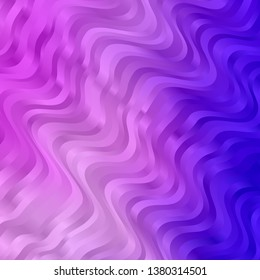 Light Purple vector backdrop with bent lines. Illustration in abstract style with gradient curved.  Pattern for busines booklets, leaflets