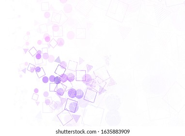 Light Purple vector backdrop with lines, circles, rhombus. Abstract illustration with colorful dots, lines, cubes. Best design for poster, banner.