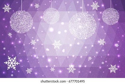 Light Purple vector christmas polygon background. Low poly Illustration consisting of triangles with snowflakes. Texture, seamless background of New Year celebration.