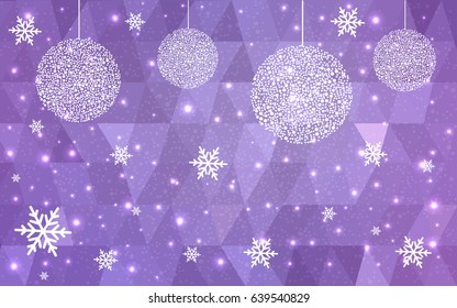 Light purple vector christmas postcard low polygon background. Illustration consisting of triangles. Abstract triangular polygonal origami or crystal design of New Year celebration.