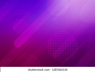 Light Purple vector cover with rounded stripes, dots. Modern geometrical abstract illustration with sticks, dots. The pattern can be used as ads, poster, banner for commercial.