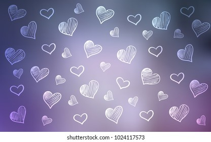 Light Purple vector cover with Shining hearts. Glitter abstract illustration with colorful hearts in romantic style. Pattern for carnival, festival romantic leaflets.