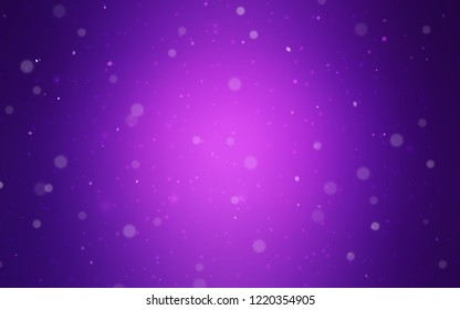 Light Purple vector layout with bright snowflakes. Shining colored illustration with snow in christmas style. New year design for your business advert.