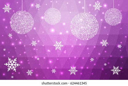Light purple vector low poly crystal background with snowflakes. Polygon christmas design pattern. Low poly illustration of New Year celebration.
