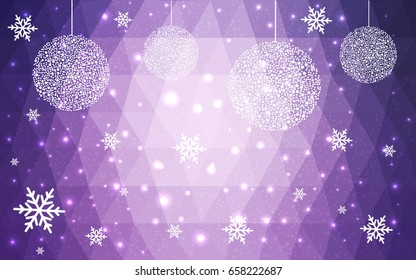 Light Purple vector low poly crystal background with snowflakes. Polygon christmas design pattern . Low poly illustration of New Year celebration.