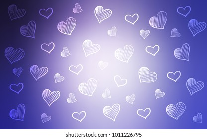 Light Purple vector pattern with colorful hearts.