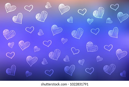 Light Purple vector pattern with colorful hearts. Glitter abstract illustration with colorful hearts in romantic style. Pattern for carnival, festival romantic leaflets.