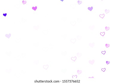 Light Purple vector pattern with colorful hearts. Beautiful colored illustration with hearts in celebration style. Pattern for valentine's ad, booklets.