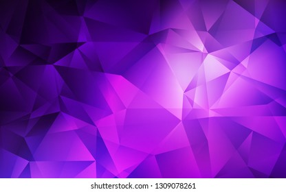 Light Purple vector polygonal pattern. Shining polygonal illustration, which consist of triangles. Best triangular design for your business.