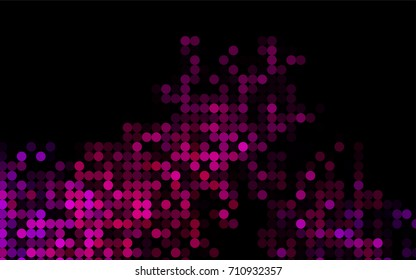 Light Purple vector red banner with set of circles, dots. Donuts Background. Creative Design Template. Technological halftone illustration.