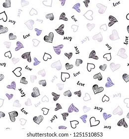 Light Purple vector seamless backdrop with phrase LOVE YOU, hearts. Illustration with phrase LOVE YOU, hearts for valentine's day. Pattern for trendy fabric, wallpapers.