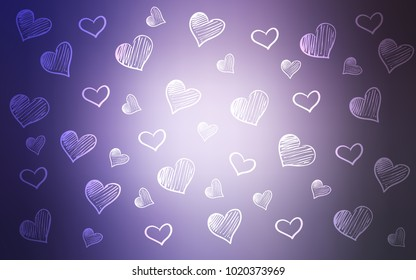 Light Purple vector template with doodle hearts. Decorative shining illustration with hearts on abstract template. Beautiful design for your business advert of anniversary.