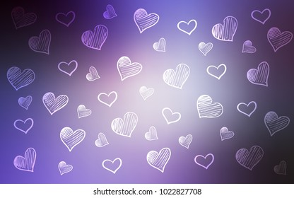 Light Purple vector template with doodle hearts. Blurred decorative design in doodle style with hearts. Template for Valentine's greeting postcards.