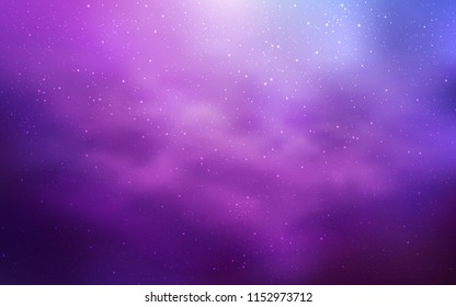 Light Purple vector template with space stars. Shining illustration with sky stars on abstract template. Pattern for futuristic ad, booklets.