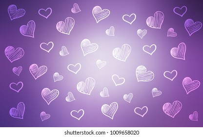Light Purple vector texture with lovely hearts. Blurred decorative design in doodle style with hearts. Template for Valentine's greeting postcards.