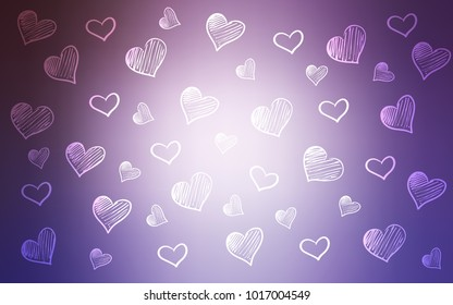 Light Purple vector texture with lovely hearts. Illustration with hearts in love concept for valentine's day. Pattern can be used for valentine's ad, booklets.