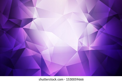 Light Purple vector triangle mosaic background. Creative illustration in halftone style with triangles. Template for cell phone's backgrounds.