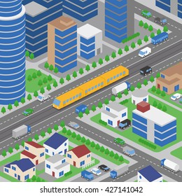 light rail transit system and various vehicles, streetcar, birds-eye view, vector illustration