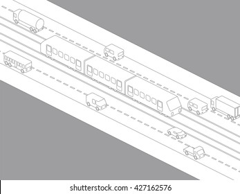 light rail transit system and various vehicles, streetcar, birds-eye view, line drawing illustration