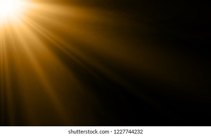 Light ray or sun beam vector background. Abstract gold light sparkle flash spotlight backdrop with golden sunlight shine on black background