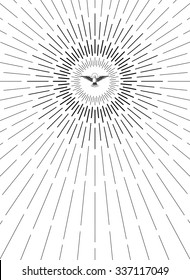 Light rays of burst. Holy Spirit. Dove in flight. Linear drawing. Vintage style of the image. Vintage engraving. Design elements for your projects.