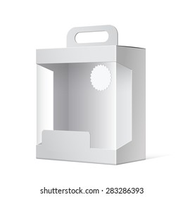 Light Realistic Package Cardboard Box with a handle and a transparent plastic window. Vector illustration