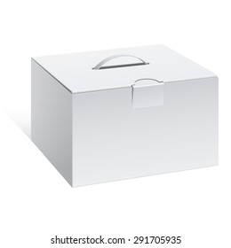 Light Realistic Package Cardboard Box with a handle. Vector illustration