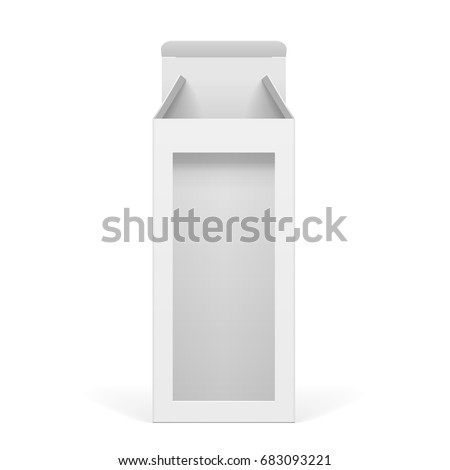 Light Realistic Package Cardboard Box With A Transparent Plastic Window Template For Mockup Your Design