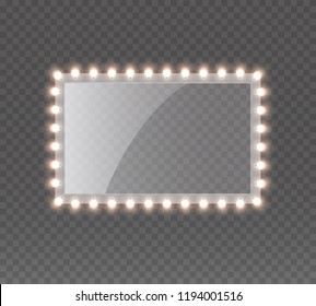 Light rectangle banner isolated on transparent background. Vector Hollywood bulbs frame or Las Vegas casino night sign. Theatre makeup mirror with lights template.