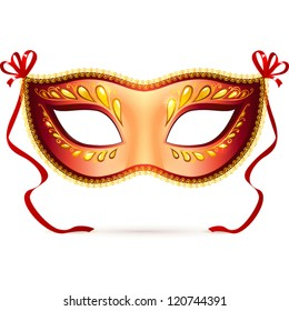 Light red carnival mask with red ribbons, vector illustration
