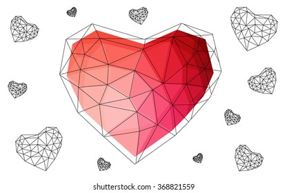 Light red heart isolated on white background. Geometric rumpled triangular low poly origami style gradient graphic illustration. Vector polygonal design for your business.