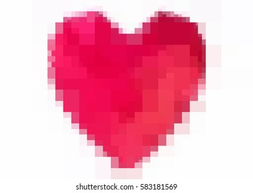 Light Red vector abstract glitter heart shape on white background in love concept for valentine's day with sweet and romantic moment. Polygonal design for your business.