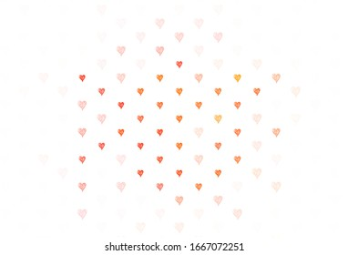 Light Red vector background with hearts. Beautiful abstract hearts on colorful gradient background. Pattern for valentine's ad, booklets.
