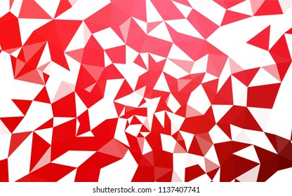 Light Red vector polygonal template. Triangular geometric sample with gradient. Triangular pattern for your design.
