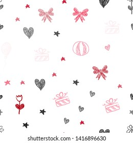 Light Red vector seamless template in carnival style. Design in xmas style with aheart, baloon, candy, gift, star, ribbon. Pattern for birthday gifts.