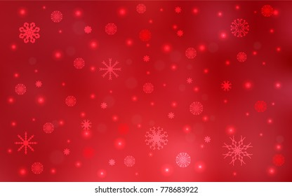 light red vector texture with colored snowflakes snow on blurred abstract background with gradient