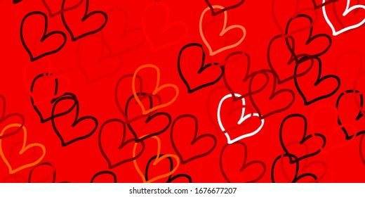 Light Red, Yellow vector backdrop with sweet hearts. Decorative shining illustration with hearts on abstract template. Design for your business advert of anniversary.