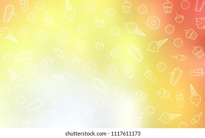 Light Red, Yellow vector background with tasty sweets. Confections on blurred abstract background with colorful gradient. Design for ad, poster, banner of cafes or restaurants.