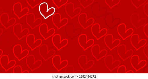 Light Red, Yellow vector background with Shining hearts. Hearts on blurred abstract background with colorful gradient. Pattern for valentine's ad, booklets.