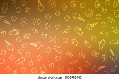 Light Red, Yellow vector cover with set of confections. Confections on blurred abstract background with colorful gradient. Pattern for ad, booklets, leaflets of restaurants.