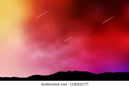 Light Red, Yellow vector pattern with night sky stars. Modern abstract illustration with Big Dipper stars. Smart design for your business advert.
