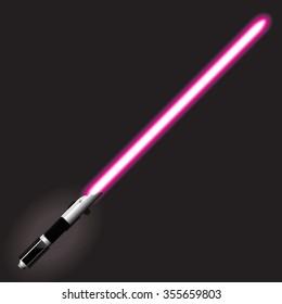 Light saber blade, Energy sword, futuristic science fiction energy weapon. Vector Illustration.