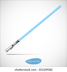 Light Saber, Energy Sword - Futuristic Energy Weapon. Isolated Vector Illustration